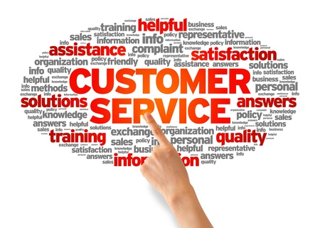 Hand pointing at a Customer Services Word illustration on white background.