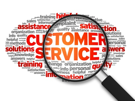 Magnified illustration with the words Customer Services on white background. illustration