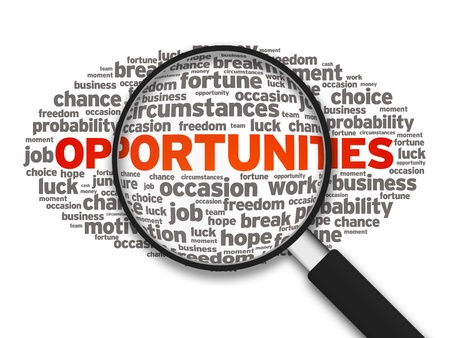 occupation: Magnified illustration with the word Opportunities on white background. Stock Photo