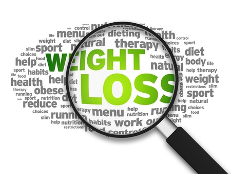 kilograms: Magnified illustration with the word Weight Loss on white background. Stock Photo