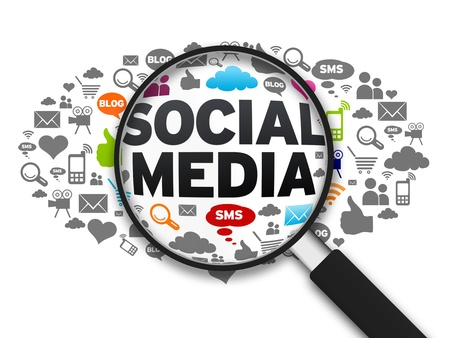 Media: Magnified illustration with the word Social Media on white background.