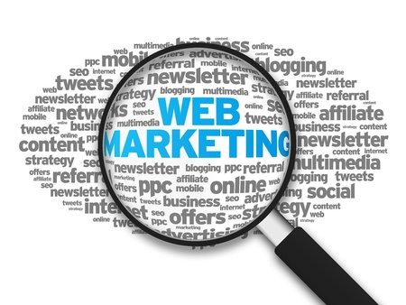 Magnified illustration with the word Web Marketing on white background. illustration