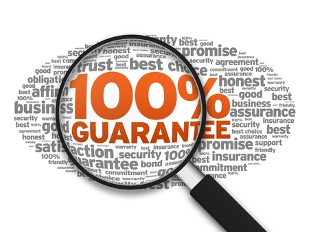 Magnified illustration with the word 100% Guarantee on white background. Stock Illustration - 14955724
