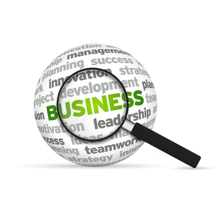 sphere: Business 3d Word Sphere with magnifying glass on white background. Stock Photo
