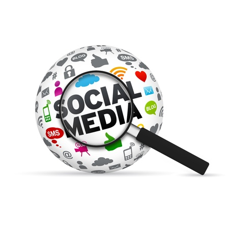 Social Media 3d Word Sphere with magnifying glass on white background.