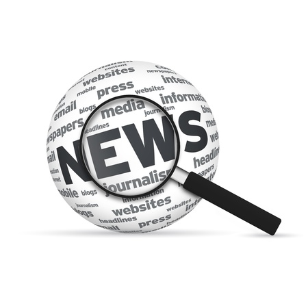 News 3d Word Sphere with magnifying glass on white background. photo