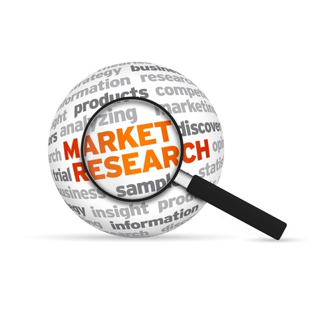 Market research 3d Word Sphere with magnifying glass on white background. photo
