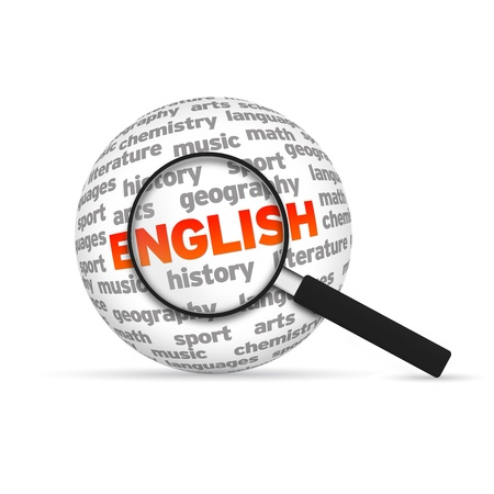 learn english: English 3d Word Sphere with magnifying glass on white background.
