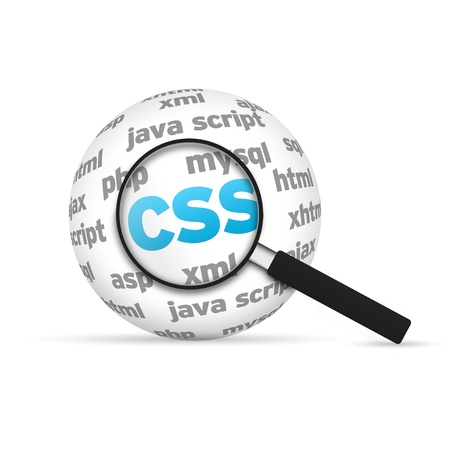 css: Cascade Style Sheets 3d Word Sphere with magnifying glass on white background.