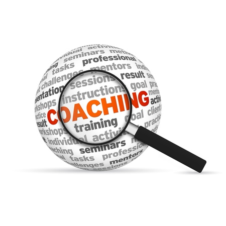 find: Coaching 3d Word Sphere with magnifying glass on white background.
