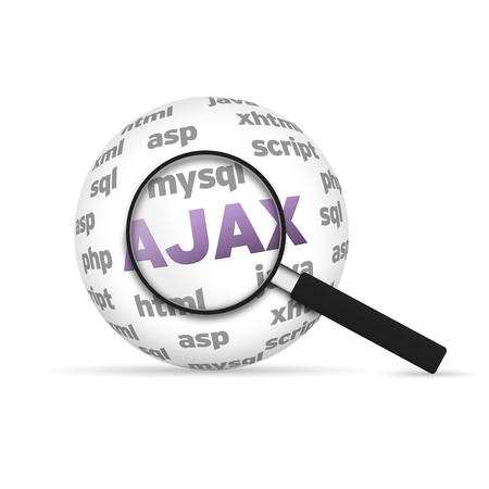hypertext: Ajax 3d Word Sphere with magnifying glass on white background. Stock Photo