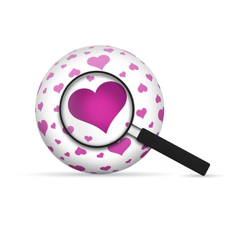 Love 3d Sphere with magnifying glass on white background. photo