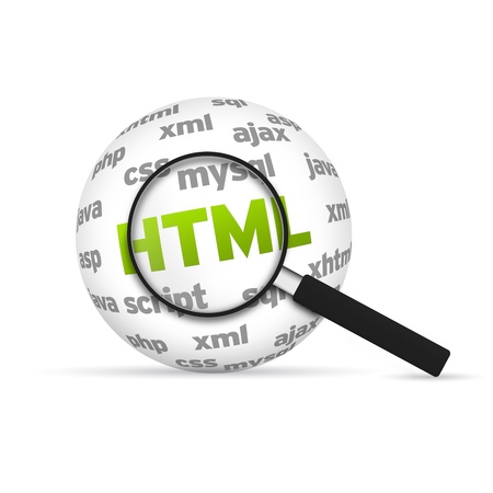 Html 3d Word Sphere with magnifying glass on white background. photo