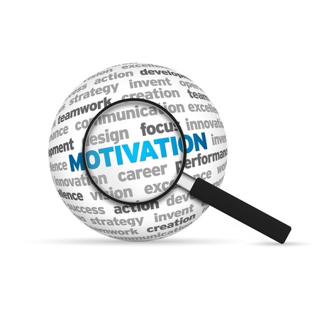 Motivation 3d Word Sphere with magnifying glass on white background. photo