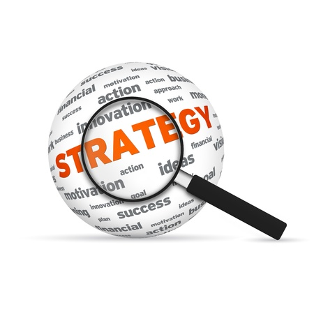 Strategy 3d Word Sphere with magnifying glass on white background.