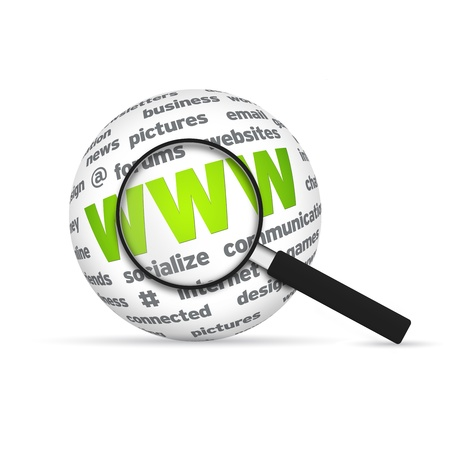 World Wide Web 3d Word Sphere with magnifying glass on white background. photo