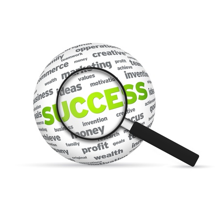 Success 3d Word Sphere with magnifying glass on white background. photo
