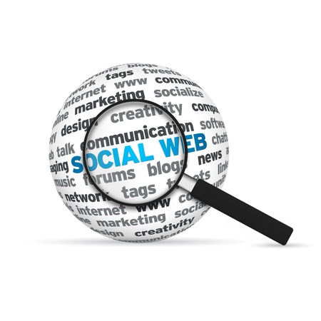Social Web 3d Word Sphere with magnifying glass on white background. photo