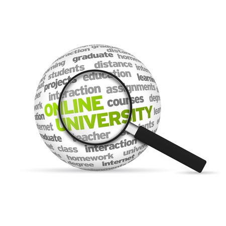 test deadline: Online University 3d Word Sphere with magnifying glass on white background.