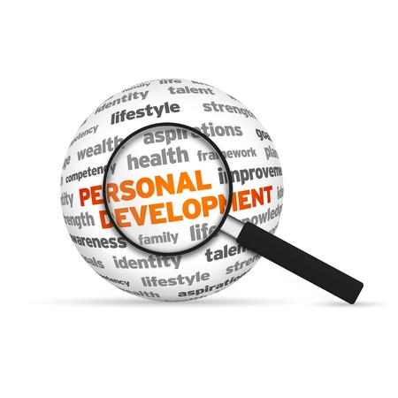 Personal Development 3d Word Sphere with magnifying glass on white background. Stock Photo - 14955790