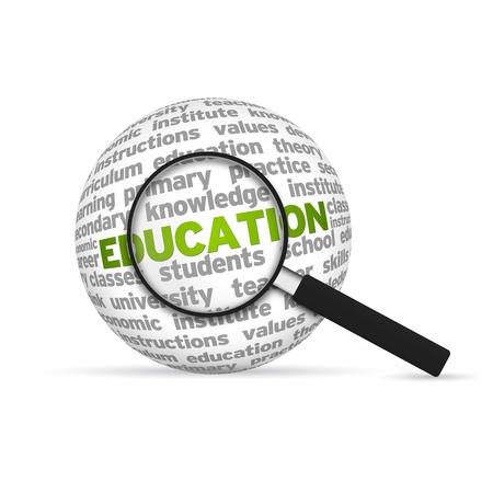 inspirerend: Onderwijs 3d Word Sphere met vergrootglas op witte achtergrond.