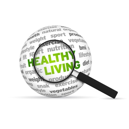 Healthy Living 3d Word Sphere with magnifying glass on white background. photo