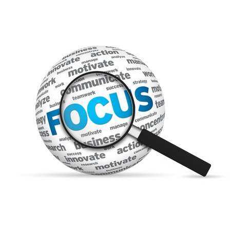 fixate: Focus 3d Word Sphere with magnifying glass on white background.