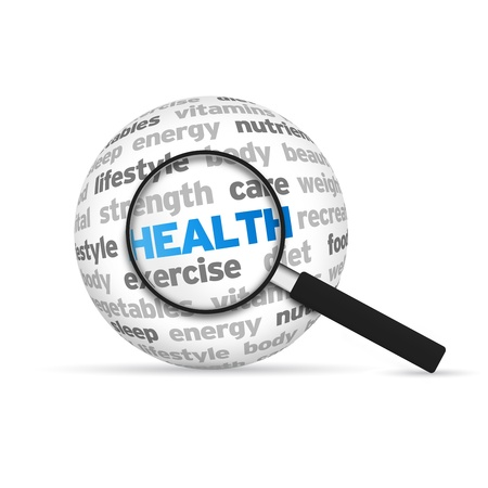 Health 3d Word Sphere with magnifying glass on white background. photo