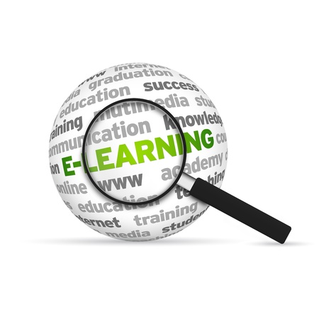 E-Learning 3d Word Sphere with magnifying glass on white background. Stock Photo