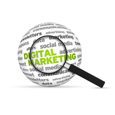 marketing strategy: Digital Marketing 3d Wort Sphere mit Lupe auf wei�em Hintergrund.