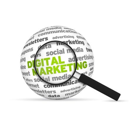 network marketing: Marketing Digital 3D Word Esfera con lupa sobre fondo blanco.
