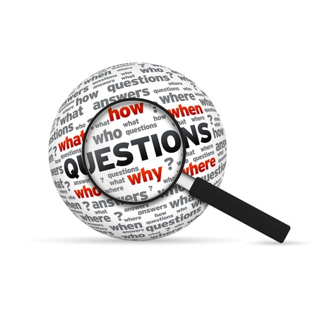 questions: Questions 3d Word Sphere with magnifying glass on white background.