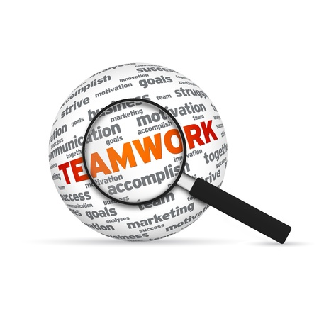 Teamwork 3d Word Sphere with magnifying glass on white background. photo