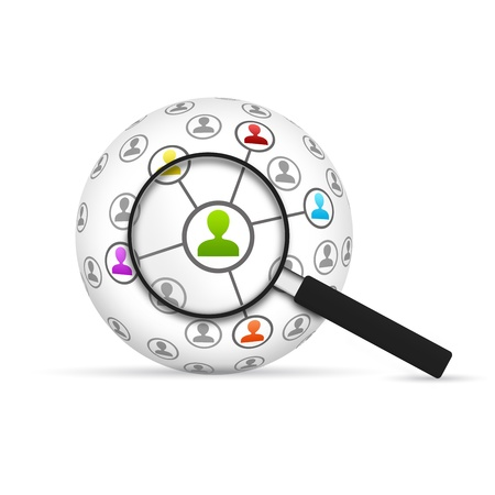 Network 3d Sphere with magnifying glass on white background