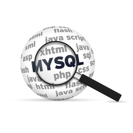 hypertext: Mysql 3d Sphere with magnifying glass on white background