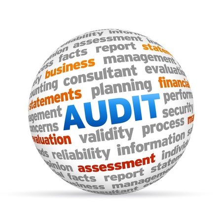 3d Audit Word Sphere on white background  photo
