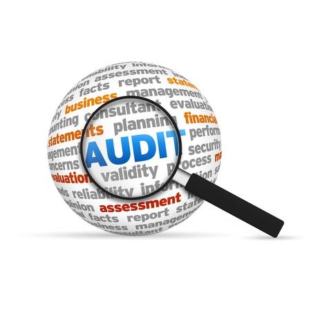 auditoría: Auditoría 3d Esfera palabra con la lupa en el fondo blanco