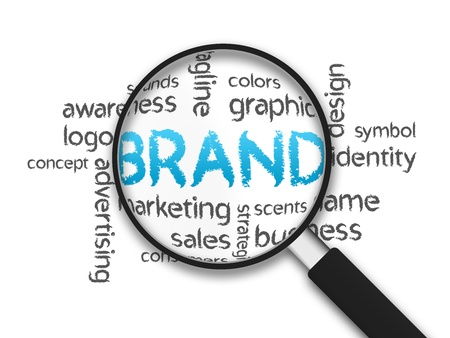 brand identity: Magnified Brand word illustration on white background. Stock Photo