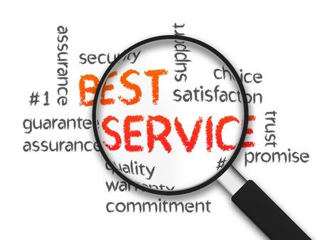Magnified beste service woord illustratie op witte achtergrond.
