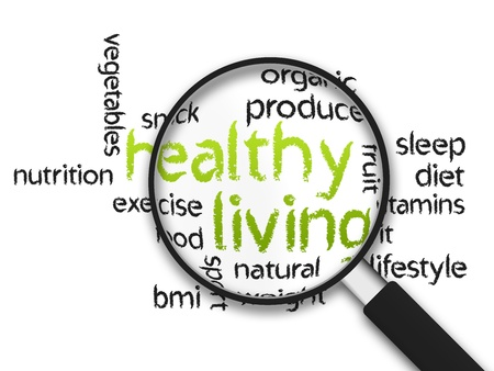 living: Magnified Healthy Living word illustration on white background.