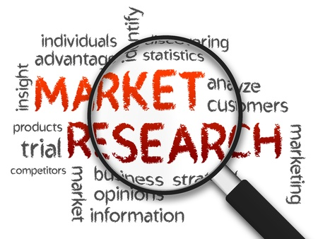 marketing research: Magnified Market Research word illustration on white background.