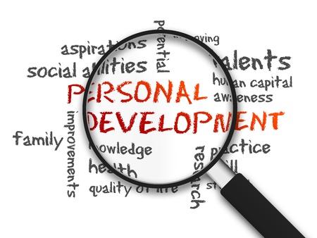 identidad personal: Magnified Desarrollo Personal ilustraci�n palabra sobre fondo blanco. Foto de archivo
