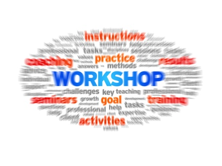Workshop blurred tag cloud on white background.