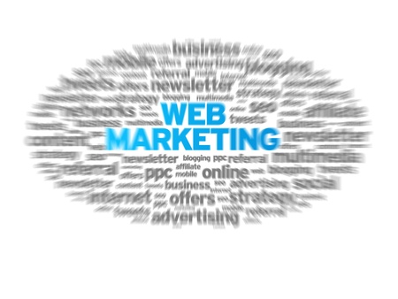 Web Marketing blurred tag cloud on white background.