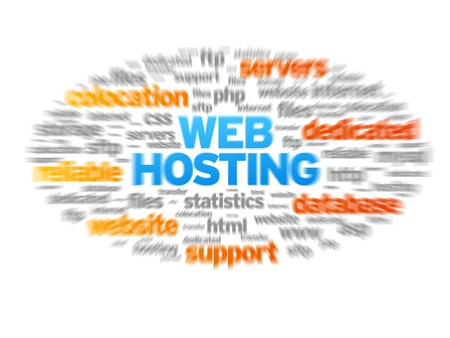 Web Hosting blurred tag cloud on white background.