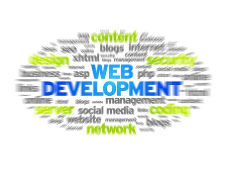 Web Development blurred tag cloud on white background. photo
