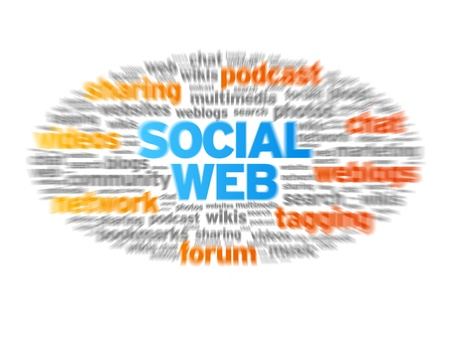 Social Web blurred tag cloud on white background. Stock Photo