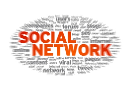 media distribution: Social Network word cloud on white background.