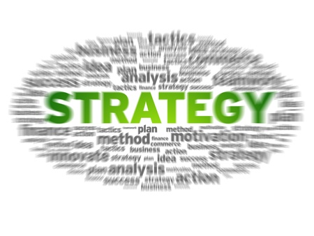 Blurred strategy word cloud on white background.