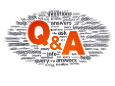 know how: Blurred Questions and Answers illustration on white background. Stock Photo